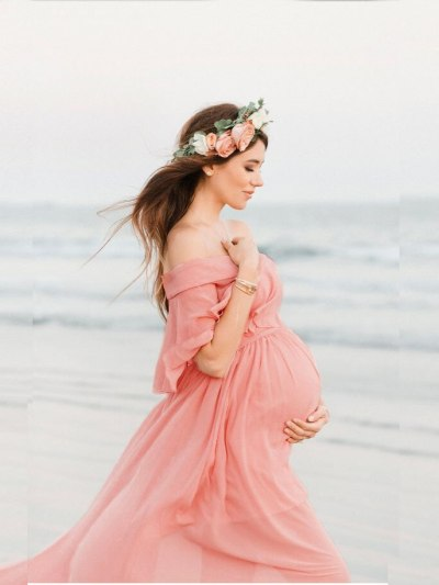 Maternity Off Shoulder Chiffon Gown Maxi Beach Dress