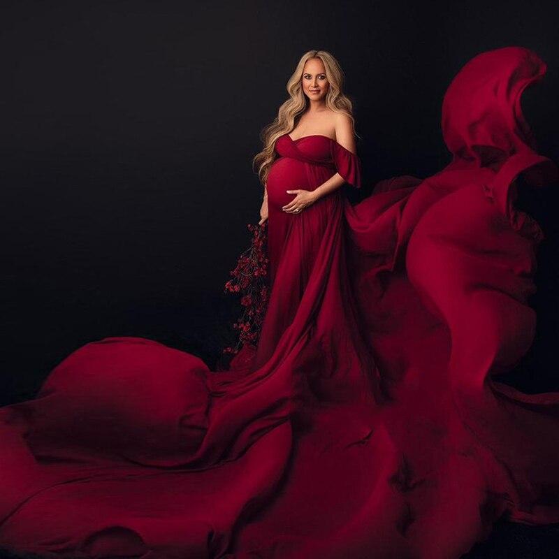 Long Tail Off Shoulder Elegant Maternity Dress