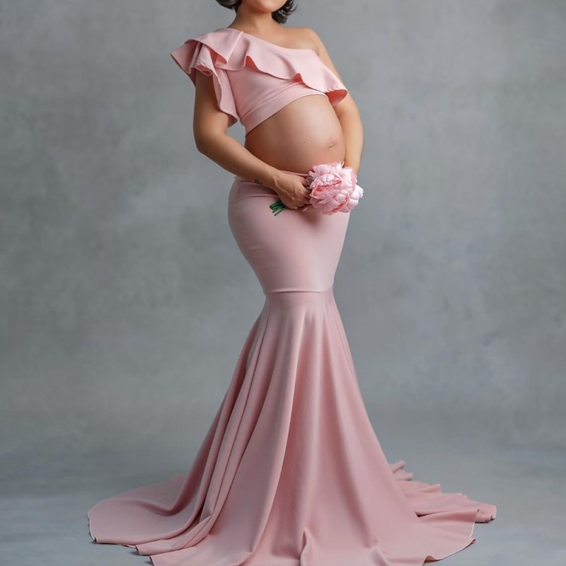 Mermaid Style Long Tail One-Shoulder Baby Shower Dress