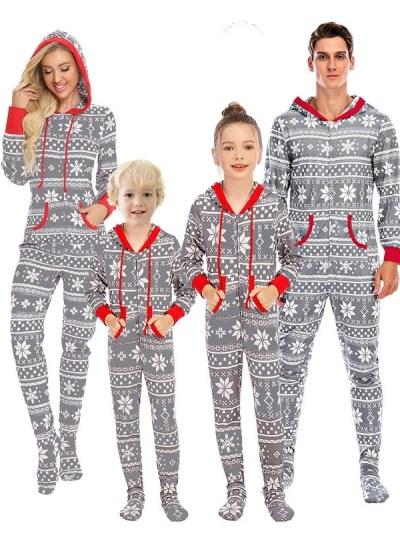Grey Snowflake Print Onesie Jumpsuit Pajamas