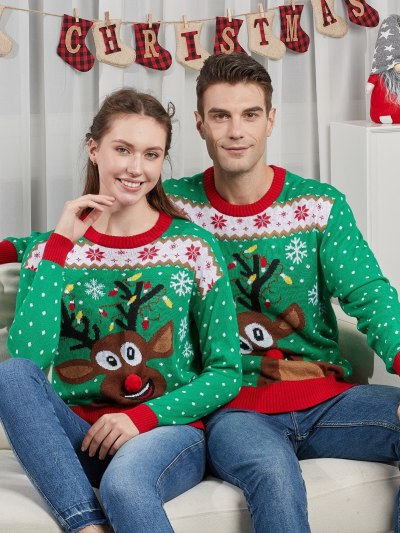 Green Reindeer Print Matching Ugly Sweater for Family