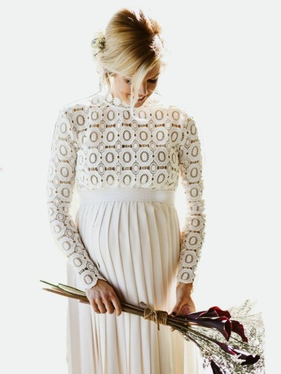 Side Split Pleated Pregnancy Photography Dress