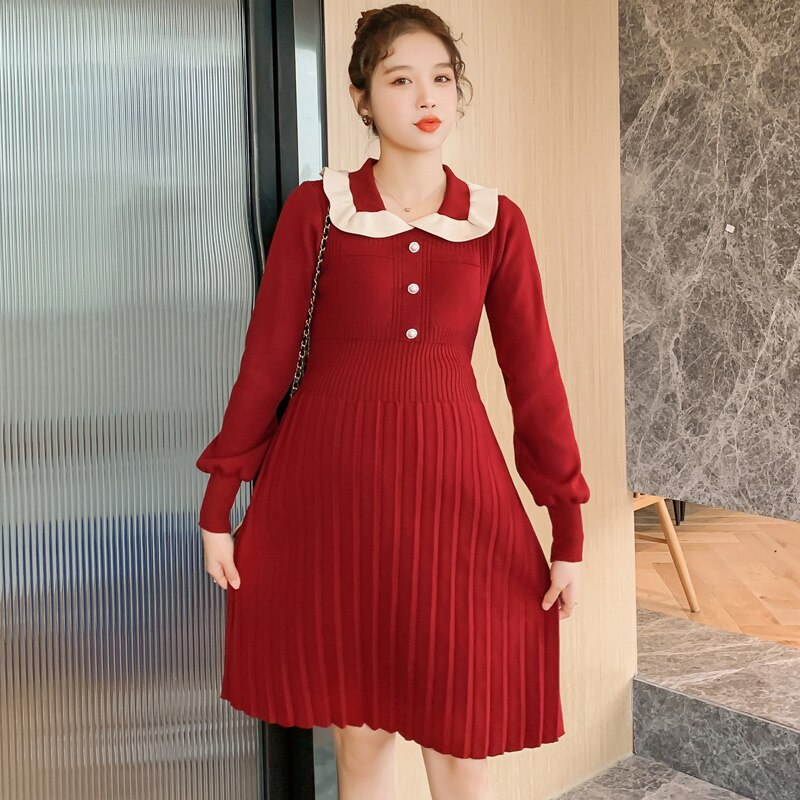 Peter Pan Collar Christmas Red Pleated Knitting Dress