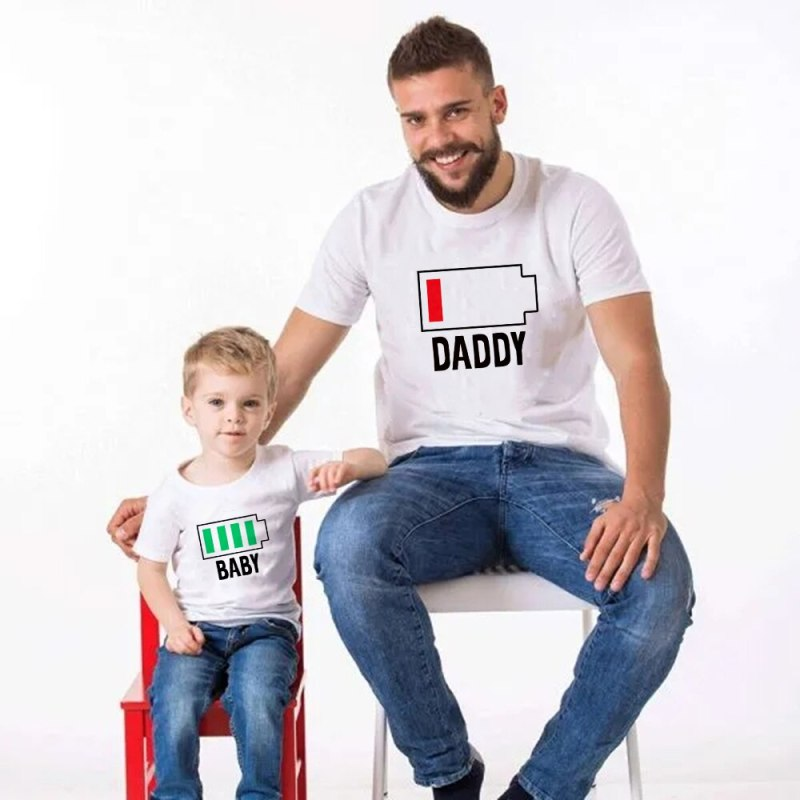 Father Son Battery Print Same Look Tee