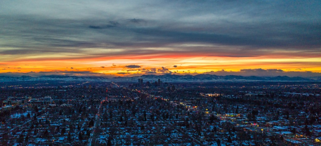 denver aerial colorado sunset