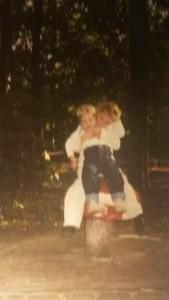 met mijn zus op de paddelstoel