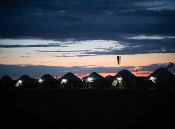 kazakh yurts at night