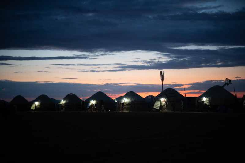 kazakh yurts at night