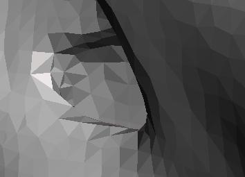 Acercamiento al modelo tridimensional virtual en donde se evidencia la serie de triángulos que conforman el archivo STL