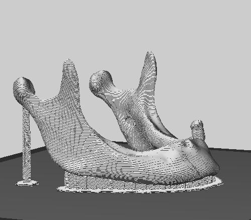 Previsualización de cómo será impreso el modelo tridimensional, nótense los soportes que sostienen partes de la estructura