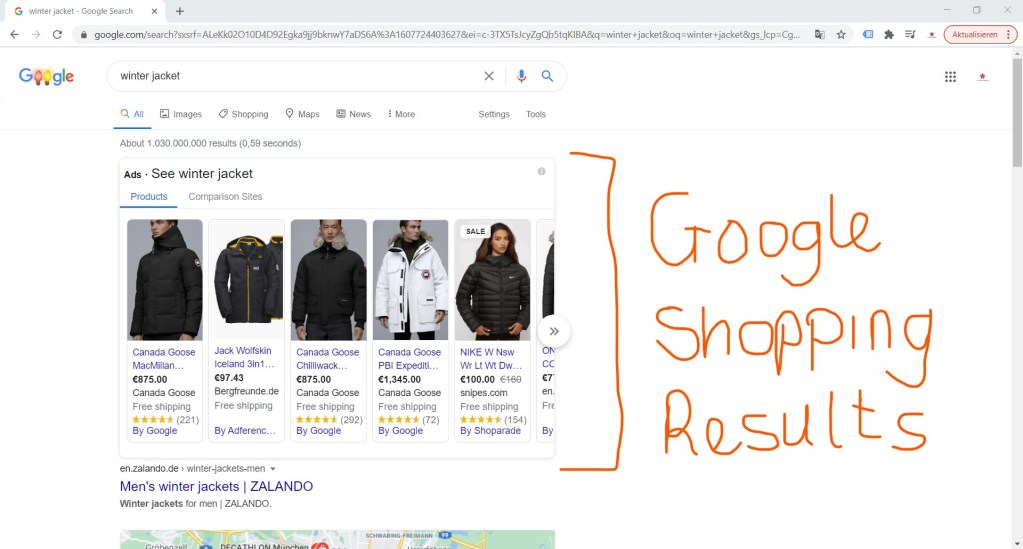 google shopping listing results