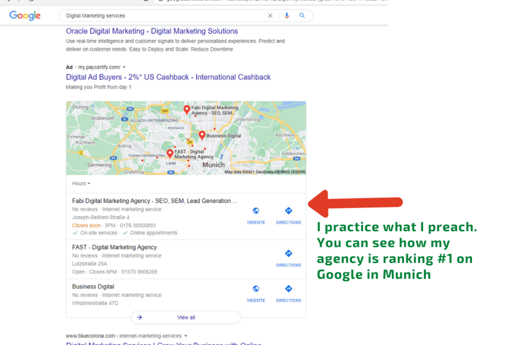 our own local seo results on Google for Munich