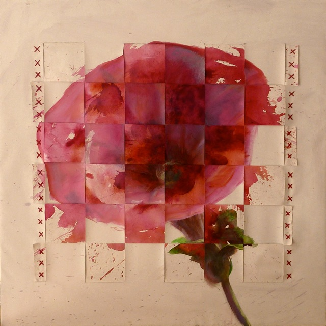 Rapiécée - www.fabiennecolin.comAcrylique sur toile 100X100