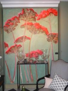 Acrylique sur toile 250X180. Décor floral.