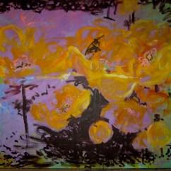 Bouton d'or - www.fabiennecolin.com Acrylique sur toile 250X250