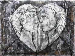 """dans la série noire """"le Coeur"""" 122 X92 cm """"le coeur à ses raisons que la raison ignore""""."""
