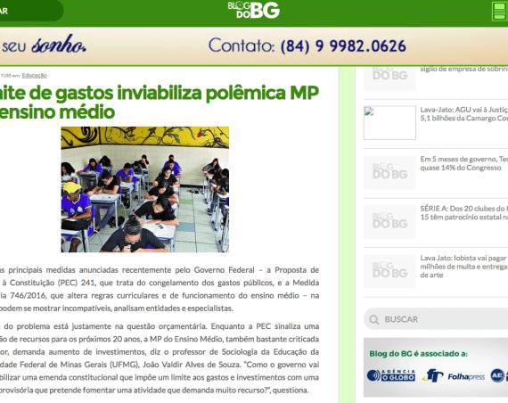 Print de tela do Blog do BG