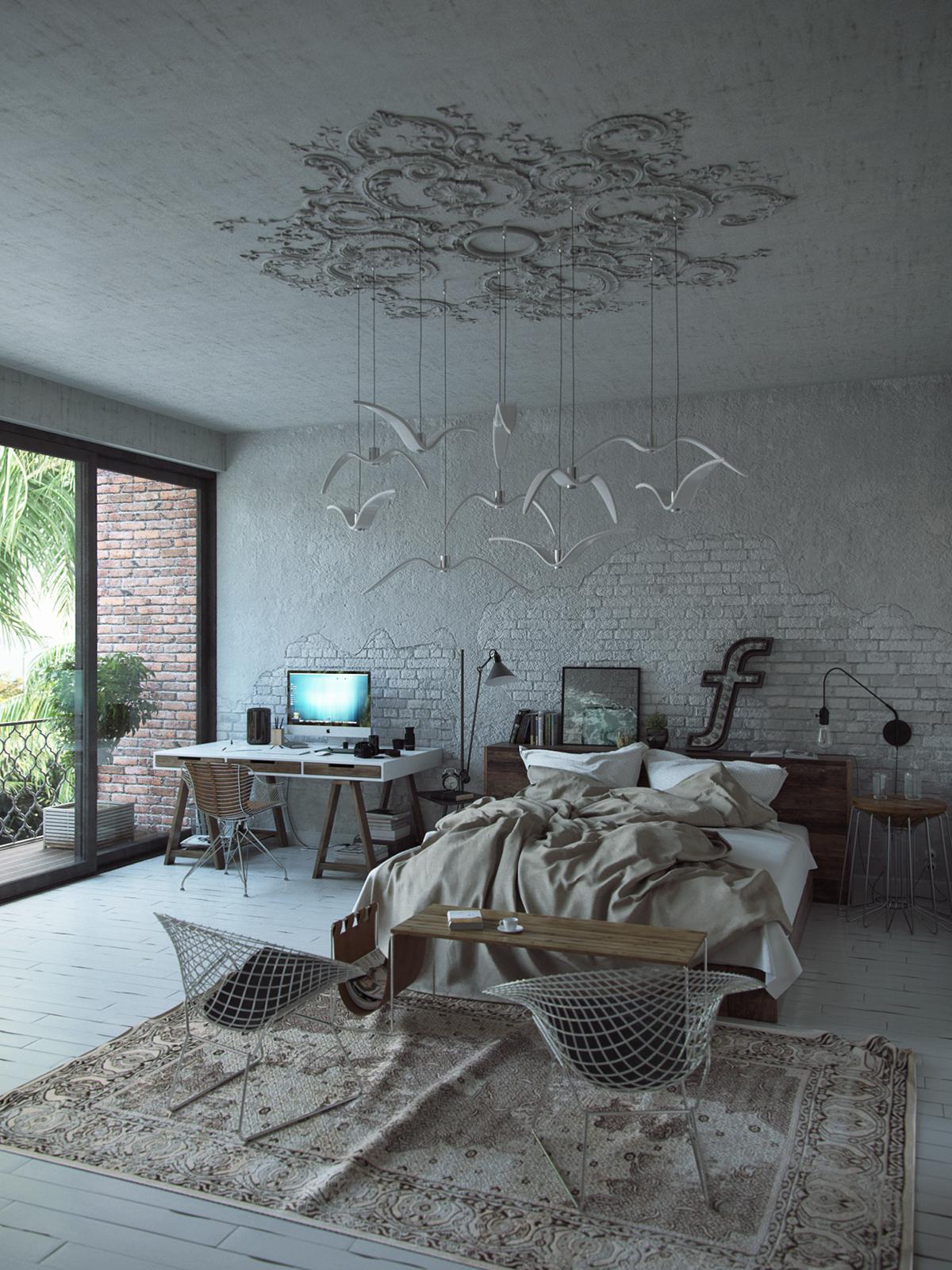 Um quarto-escritório e o pendente de teto mais legal que já vi