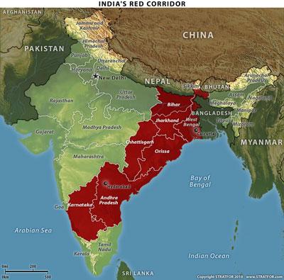 Naxalite strength in India, by Stratfor