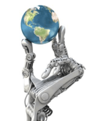 Robot hand holding the 21st Century world