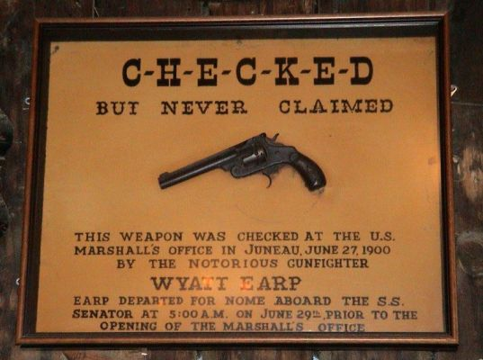 Wyatt Earp's gun displayed at the Red Dog Salon in Juneau, AK.