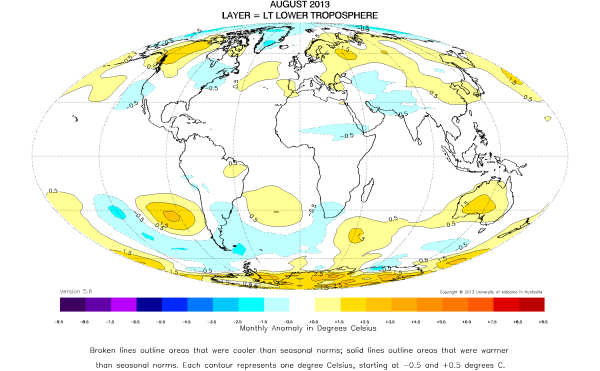 UAH Global Temperature Map