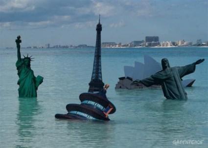 Greenpeace artwork about sea levels