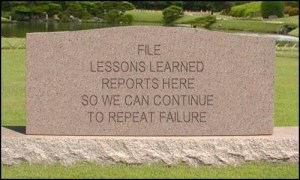 Lessons learned tombstone