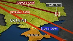 CBS map of MH17 flight