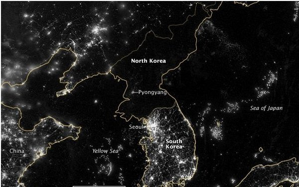 North Korea, dark in the night