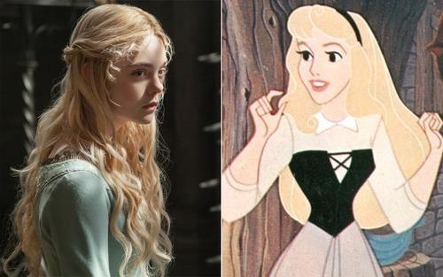 Princess Aurora (aka Sleeping Beauty) in 1937 and 2014.