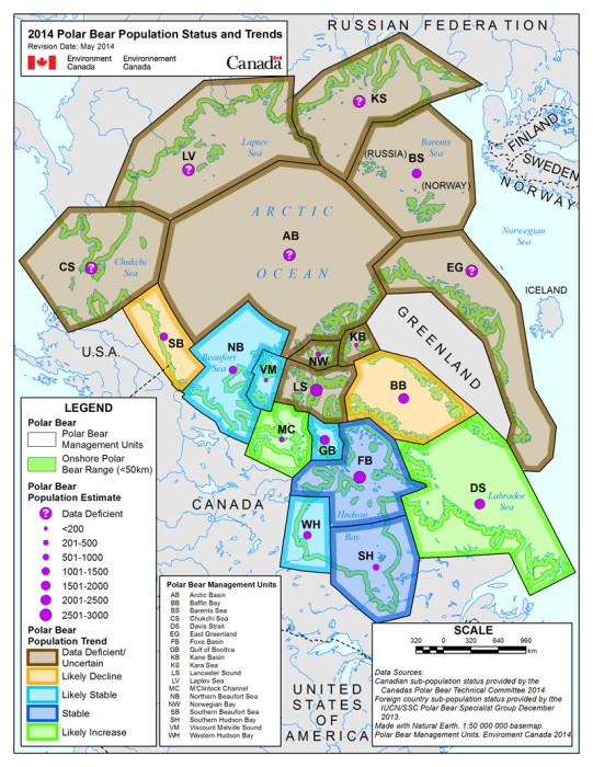 Map showing status of Polar Bear subpopulations
