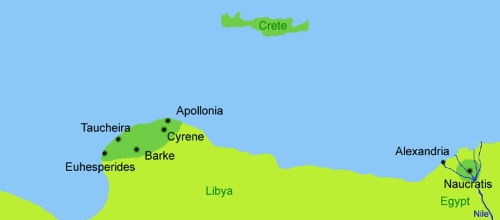 Map: Cyrene, Libya