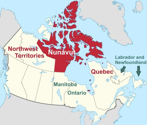 Map of Nunavut & Canadian regions that allow mark & recapture