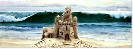 Sandcastle and wave