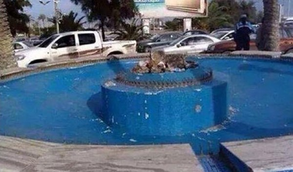 "What remains of ""The Bride Of The Sea"" statue in Tripoli."