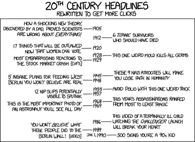 XKCD: Historical headlines rewritten as clickbait