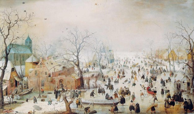 Winter Landscape with Ice Skaters