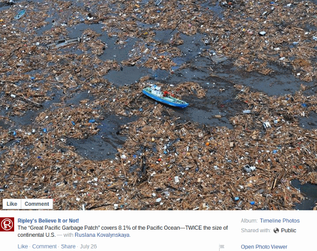 Ripley's photo of the Pacific Garbage Patch, 26 July 2015