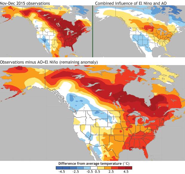 NOAA: Observed temperatures minus minus AO & ENSO