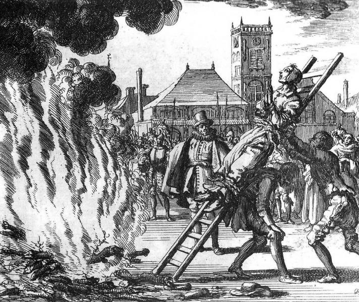 Burning of Anne Hendricks as a Witch in 1571. Engraving by Jan Luyken (1685).