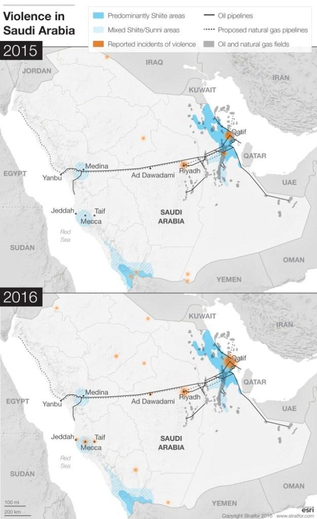 Map of violence in Saudi Arabia 2015-2016