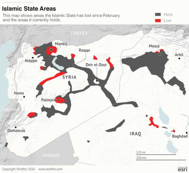 ISIS controlled areas in Syria