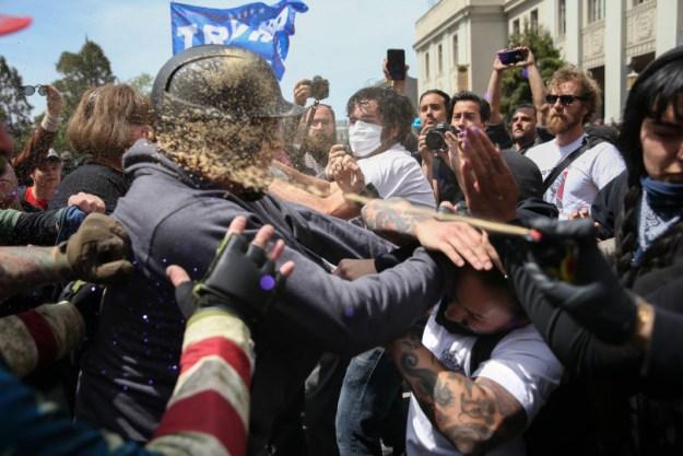 Pepper spray at pro-Trump Rally Attracts Anti-Trump at Berkeley riot.