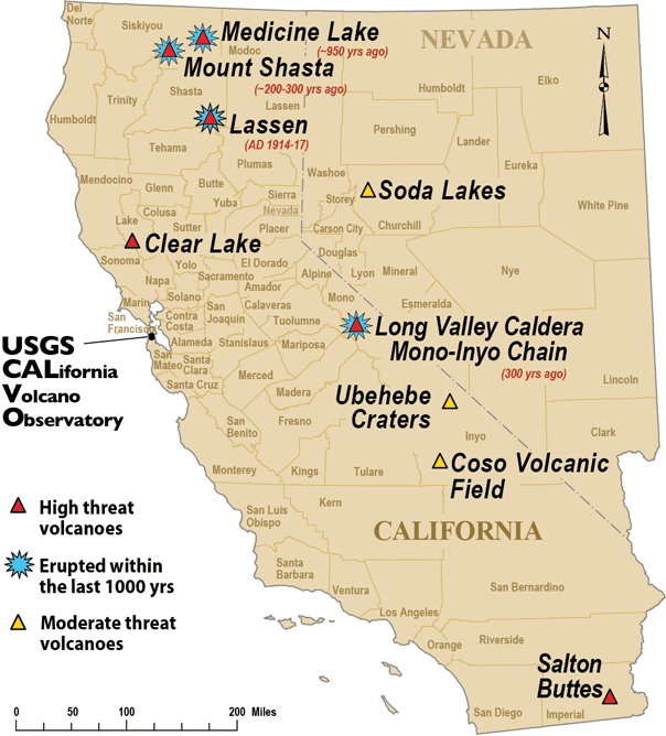 CalVO map of California and Nevada volcanoes