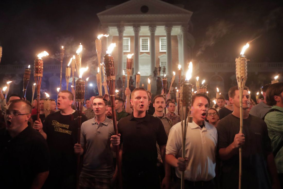 White Nationalists Marching with Torches