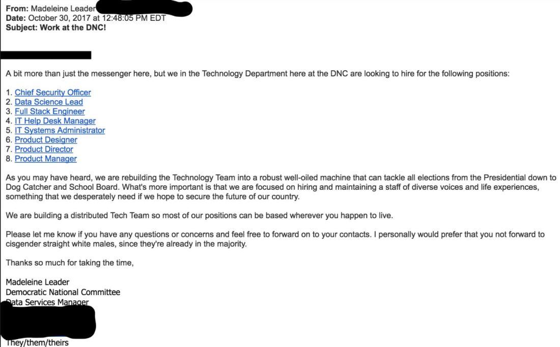 DNC Hiring email