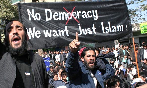 """No democracy we want just islam."""