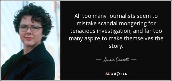 Laurie Garret on scandal mongering