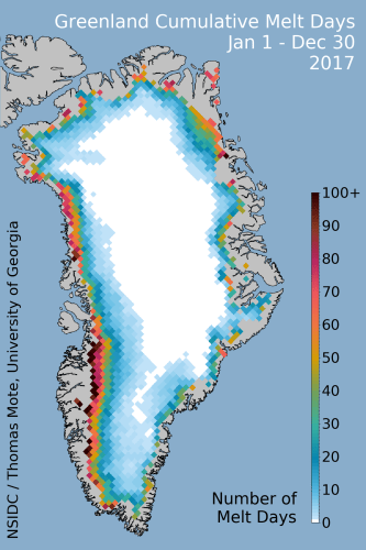 NSID: map of cumulative melt during 2017